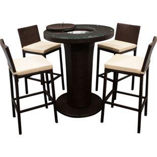 DEGAMO Barset IMPERIA 5-teilig, 1x Tisch, 4x Stuhl mit Polster, Alu + Geflecht braun - Bild 1