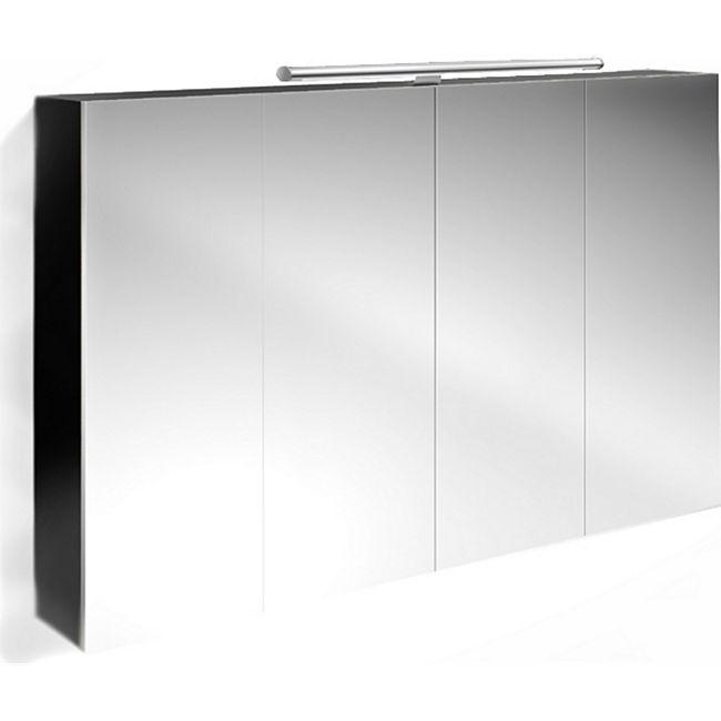 Badezimmer Spiegelschrank 120 cm Hochglanz schwarz VERENA online ...