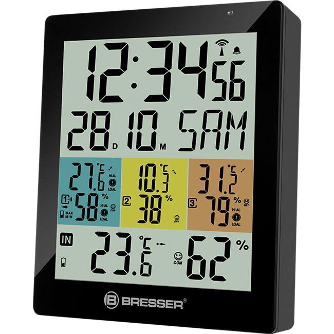 BRESSER Temeo Hygro Quadro DLX - digitales Thermometer und Hygrometer für 4 Messorte Farbe: schwarz - Bild 1