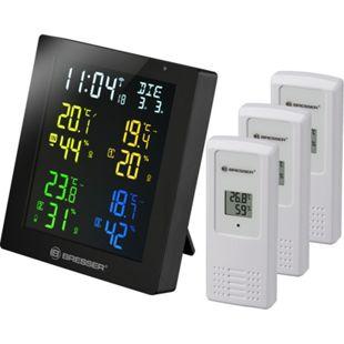 BRESSER ClimaTemp Hygro Quadro Colour Thermo-/ Hygrometer mit 3 Sensoren Farbe: schwarz - Bild 1