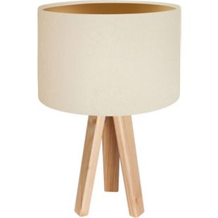 Tischleuchte Tischlampe Jalua T Velours creme & gold mit Dreibein aus Holz H: 47cm 10754 - Bild 1