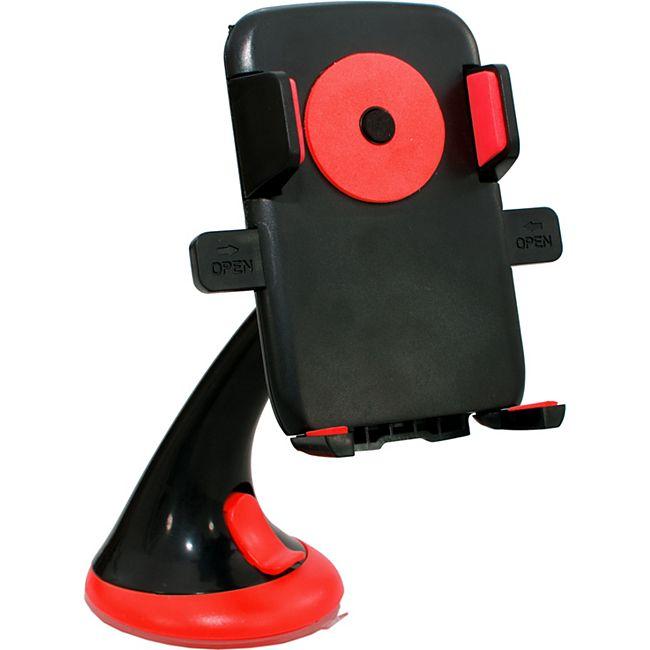 HTI-Line Handyhalter mit Saugnapf Handyhalter mit Saugnapf schwarz-rot - Bild 1