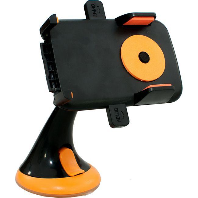 HTI-Line Handyhalter mit Saugnapf Handyhalter mit Saugnapf schwarz-orange - Bild 1