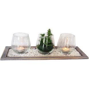 HTI-Line Deko-Tablett Wood 4-teilig Viola - Bild 1