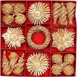 SIGRO Stroh Baumanhänger mit Goldfaden 32 er Set - Bild 1