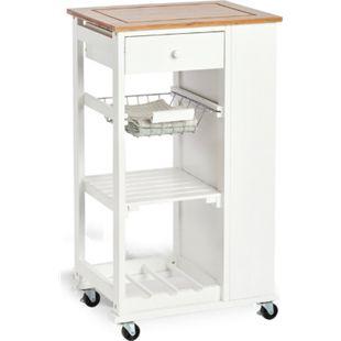 HTI-Living Küchenrollwagen weiß Bambus/MDF - Bild 1
