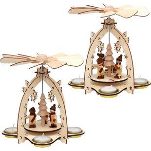 SIGRO Holz Teelichtpyramide Winterfiguren - Bild 1