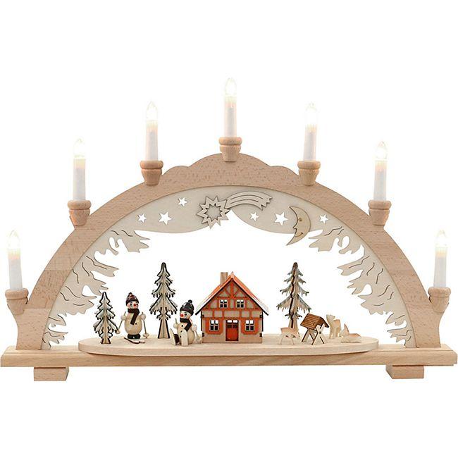 SIGRO Holz Schwibbogen Schneemänner - Bild 1