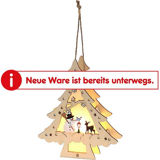 SIGRO Holz Weihnachtsbaum mit Anhänger Schneemann - Bild 1
