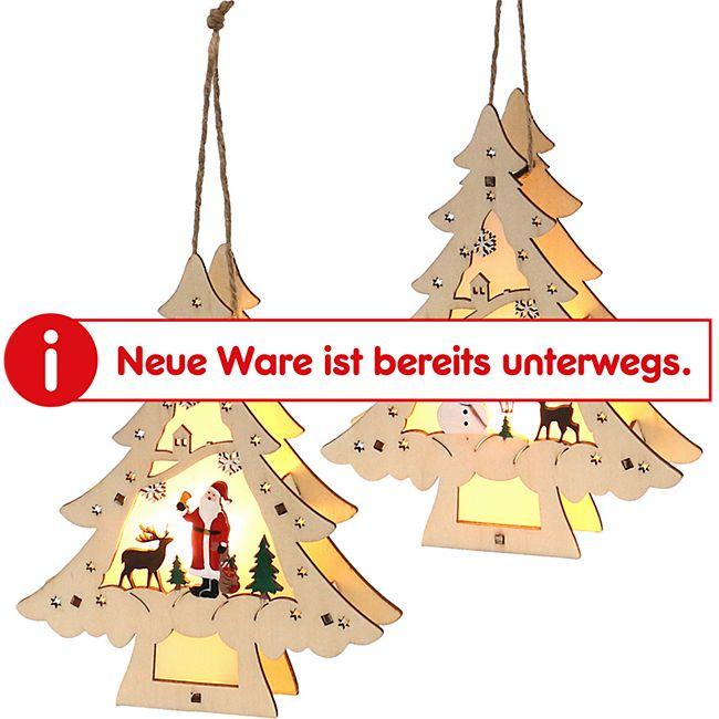 SIGRO Holz Weihnachtsbaum mit Anhänger 1 Stück Weihnachtsmann - Bild 1