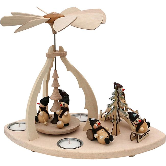 SIGRO Holz Teelicht-Tischpyramide Schneemannfiguren - Bild 1