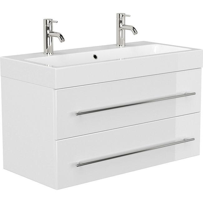 Posseik Doppelbadmöbel LIVONO Weiss Hochglanz Waschtisch Waschbecken - Bild 1