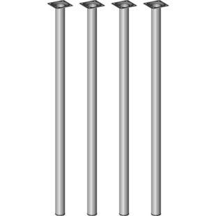 Element System Möbelfüße 4er-Set BURGUND Tischbeine Tischgestell Ø30 edelstahloptik/silber - Bild 1