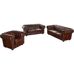 Max Winzer Norwin Sofa 3-Sitzer / Sofa 2-Sitzer / Sessel braun - Bild 1