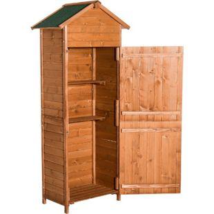 Outsunny Gerätehaus für Gartenwerkzeug natur und honig (per Zufall versendet) 79 x 49 x 190 cm (LxBxH) | Gartenschuppen Aufbewahrungsschrank Gartenhaus - Bild 1