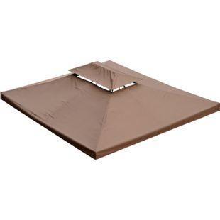 Outsunny Ersatzdach für Metall Gartenpavillon kaffeebraun 3 x 4 m (BxL) | Dach Gartenpavillon Metall-Pavillon Partyzelt - Bild 1