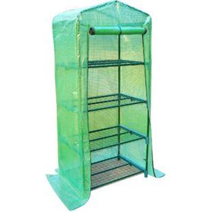 Outsunny Gewächshaus mit 4 Fachböden grün transparent 70 x 50 x 160 cm (LxBxH) | Treibhaus Frühbeet Tomatenhaus Pflanzenhaus - Bild 1