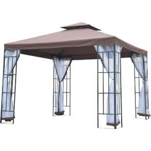 Outsunny Gartenpavillon mit Doppeldach kaffeebraun, weiß, schwarz 300 x 300 x 270 cm (LxBxH) | Luxus Pavillon Partyzelt Festzelt Gartenzelt - Bild 1