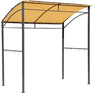 Outsunny Grillpavillon mit Flammenschutzdach silber, gelb 215 x 150 x 180 / 220 cm (LxBxH) | BBQ-Pavillon Partyzelt Bierzelt Gartenpavillon - Bild 1