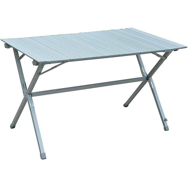 Outsunny Klapptisch mit Tragetasche silber, weiß 116 x 70 x 69 cm (LxBxH)   Rolltisch Universaltisch Campingtisch Gartentisch - Bild 1