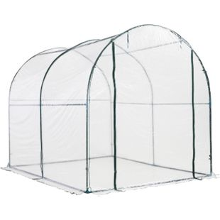 Outsunny Foliengewächshaus transparent 250 x 200 x 200 cm (LxBxH) | Gewächshaus Treibhaus Frühbeet Tomatenhaus - Bild 1