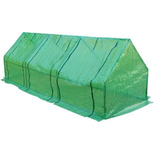 Outsunny Gewächshaus mit 3 seitlichen Rolltüren grün transparent 270 x 90 x 90 cm (LxBxH) | Frühbeet Tomatenhaus Pflanzenhaus Treibhaus - Bild 1