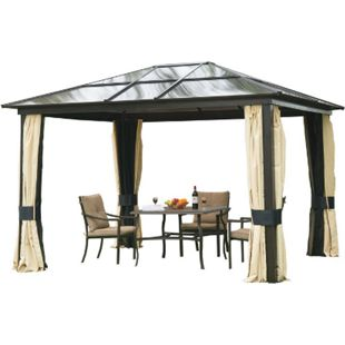 Outsunny Gartenzelt mit lichtdurchlässigem Dach schwarzbraun, natur 360 x 300 x 265 cm (LxBxH) | Luxus Pavillon Gartenpavillon Partyzelt Pavillon - Bild 1
