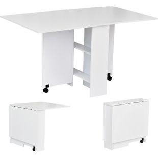 HOMCOM Klapptisch mit praktischer Kofferfunktion weiß 140 x 80 x 74 cm (LxBxH) | Beistelltisch Schreibtisch Ablagefläche Tisch - Bild 1