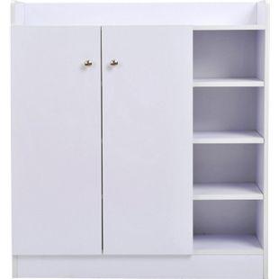 HOMCOM Schuhschrank mit Regal weiß 83 x 30 x 90 cm (LxBxH) | Allzweckschrank Kommode Highboard Schuhregal - Bild 1