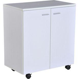 HOMCOM Büroschrank mit 4 Rollen weiß 60 x 35 x 65 cm (LxBxH) | Mobile Kommode Sideboard Rollschrank Flurkommode - Bild 1
