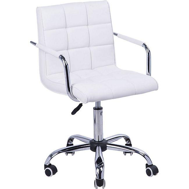HOMCOM Drehstuhl mit geschwungenen Armlehnen weiß, silber 52,5 x 54 x (82-94) cm (LxBxH) | Bürostuhl Kosmetikhocker Rollhocker Arbeitshocker - Bild 1