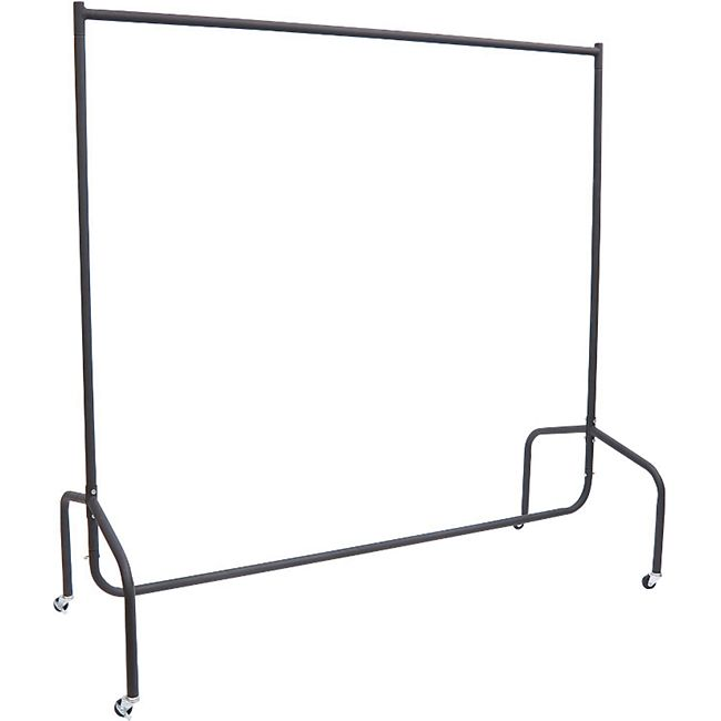 HOMCOM Kleiderständer schwarz 120 x 60 x 150 cm (LxBxH) | Wäscheständer Rollgarderobe Garderobenständer - Bild 1