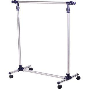 HOMCOM Garderobenständer individuell verstellbar silber (86-160) x 45 x (95-170) cm (BxLxH) | Kleiderständer Edelstahlständer Rollständer Ständer - Bild 1