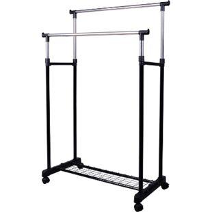 HOMCOM Kleiderständer mit 2 Stangen schwarz, silber 80 x 43 x (85-155) cm (BxLxH) | Garderobenständer höhenverstellbar rollbar Ständer - Bild 1