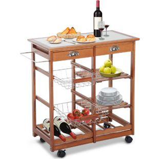 HOMCOM Küchenwagen mit 2 Schubfächer, Flaschenablage natur 74 x 37 x 75 cm (LxBxH) | Küchentrolley Servierwagen Rollwagen Bestelltisch - Bild 1