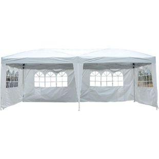 Outsunny Gartenpavillon inklusive 4 Seitenteile weiß, transparent ca. 600 x 300 x 255 cm (LxBxH) | Gartenzelt Partyzelt Bierzelt Faltzelt Pavillon - Bild 1