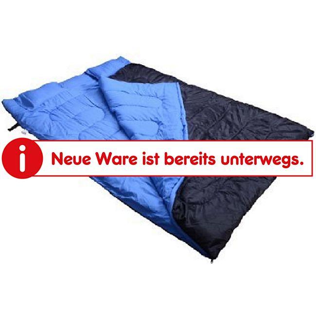 Outsunny Doppelschlafsack mit Kissen blau, schwarz 1,9 x 1,5 m (LxB) | Schlafsack Deckschlafsack Campingschlafsack - Bild 1