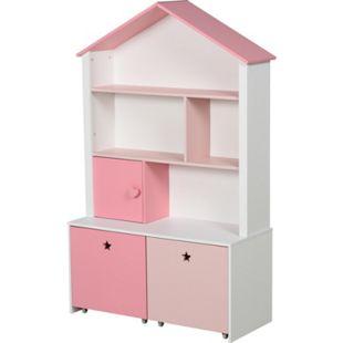 HOMCOM Kinderregal mit Schubladen rosa 80 x 34 x 130 cm (BxTxH)   Kinderzimmerregal Standregal Bücherregal Dekoregal