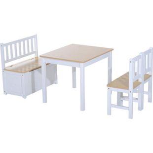 HOMCOM Kindersitzgruppe als 4 teiliges Set | Kinderstuhl Kinderbank mit Stauraum Kindertisch - Bild 1