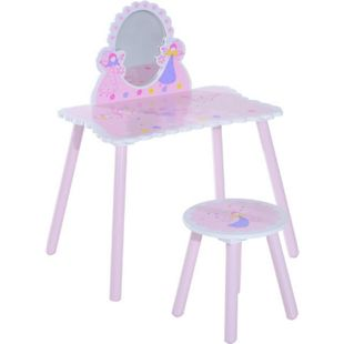 HOMCOM Kinder Schminktisch inklusive Hocker rosa, weiß, pink, blau, gelb | Kinder Frisiertisch Kinderhocker Kindertischplatte - Bild 1
