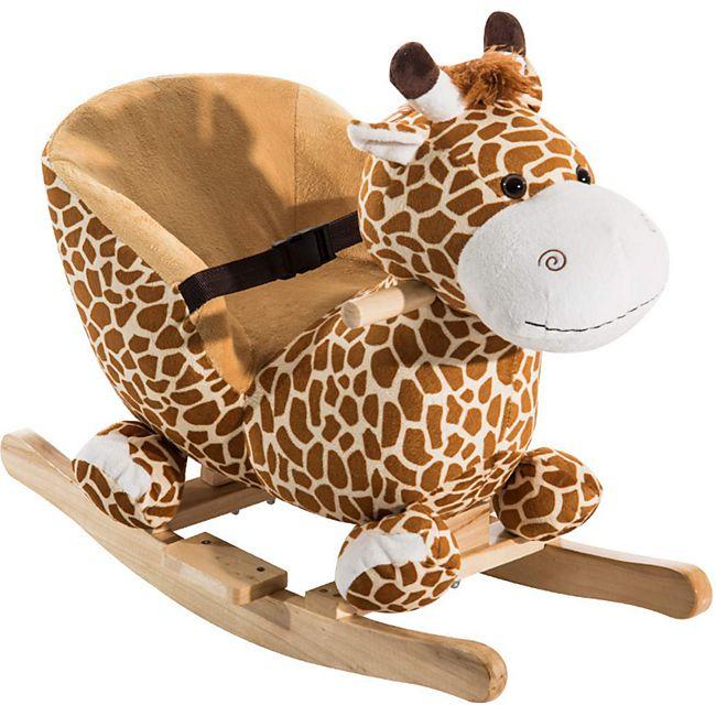HOMCOM Kinder Schaukelpferd als Giraffe gelb, hellbraun 60 x 33 x 45 cm (LxBxH) | Schaukelwippe Schaukelspielzeug Schaukeltier Plüsch - Bild 1