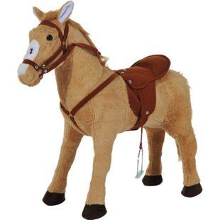 HOMCOM Kinderpferd beige 85 x 28 x 60 cm (LxBxH) | Reitpferd Stehpferd Walking Horse Plüschpferd - Bild 1