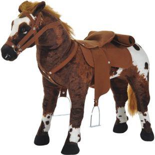 HOMCOM Kinder Reitpferd braun 85 x 28 x 60 cm (LxBxH) | Schaukelpferd Schaukeltier Reitpferd Spielzeug - Bild 1