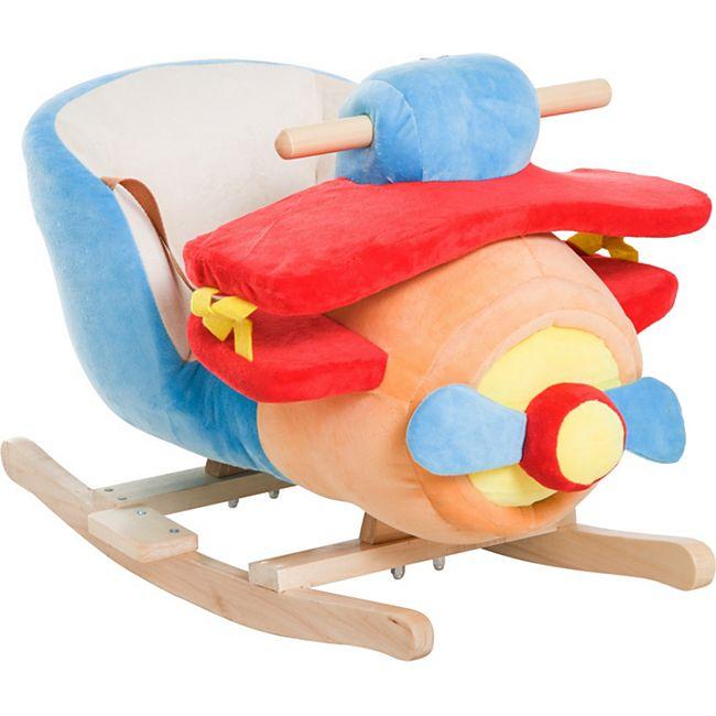 HOMCOM Schaukelspielzeug als Flugzeug blau, rot, orange 60 x 33 x 45 cm (LxBxH) | Schaukelwippe Schaukelpferd Schaukeltier Plüsch - Bild 1