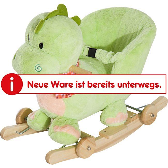 HOMCOM Schaukeltier als Drache grün 60 x 35 x 45 cm (LxBxH) | Schaukelpferd Schaukeldrache Baby Schaukelplüsch - Bild 1