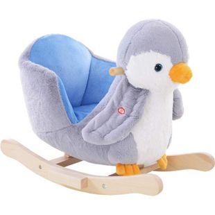 HOMCOM Schaukelpinguin grau, weiß 60 x 33 x 50 cm (LxBxH) | Schaukelpferd Schaukeltier Schaukelwippe als Pinguin - Bild 1