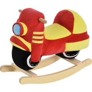 HOMCOM Kinder Schaukelwippe als Motorrad rot, gelb 60 x 25,5 x 48 cm (LxBxH) | Schaukelpferd Schaukelspielzeug Schaukeltier Plüsch - Bild 1