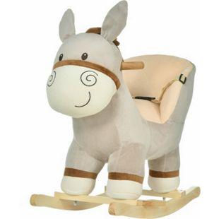 HOMCOM Schaukeltier als Esel grau 61 x 34 x 58 cm (LxBxH) | Schaukelwippe Schaukelspielzeug Plüsch Schaukelesel - Bild 1