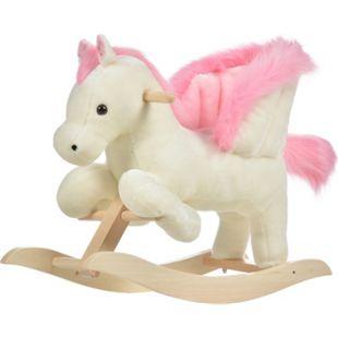 HOMCOM Schaukelpferd mit Tiergeräusche weiß, rosa 70 x 28 x 57 cm (LxBxH) | Schaukeltier im Pferdedesign Schaukelwippe Plüsch - Bild 1