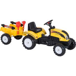 HOMCOM Kinder Trettraktor mit Anhänger gelb 123 x 42 x 51 cm (LxBxH) | Tretauto Traktor Kinderfahrzeug Pedalspielzeug - Bild 1